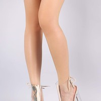 Qupid Back Lace-Up Chunky Clear Heeled Ankle Boots