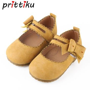 Girls Cute Mary Jane Vintage Flats Baby/Toddler/Little Kid Microfiber Leather Bow Children Retro Princess Fashion Dress Shoes