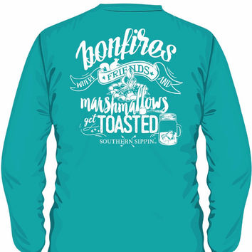 Southern Sippin Bonfire Pigment Dyed Unisex Pocket Long Sleeve T-Shirt