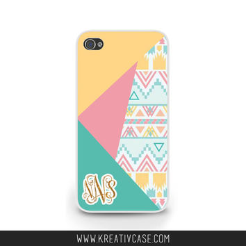 Monogrammed iPhone Case, iPhone 4, iPhone 4S, Color Block with a touch of Aztec, iPhone Case, Personalized Cover, also for Samsung - K334