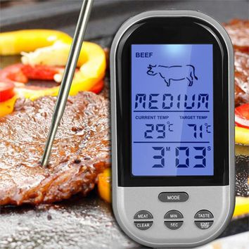 Digital Wireless Remote Kitchen Oven Food Cooking BBQ Grill Smoker Meat Thermometer With Probe and Timer Temperature