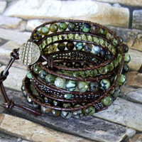 Leather wrap bracelet, Beaded Wrap Bracelet,  Women's Leather Wrap Bracelet, Bohemian Chic Bracelet with Dragon Veins Agates, Boho Bracelet