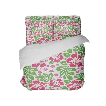 Pink and Green Hibiscus Hawaiian Surfer Girl Comforter