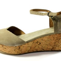 Toms Women's Platform Wedges Taupe Suede Sandals Shoes