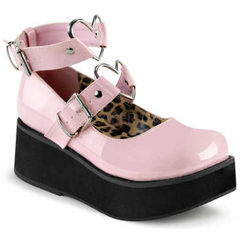 Demonia Pink Heart Ring Platforms