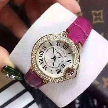 Cartier Women Diamonds Fashion Quartz Movement Watch Wristwatch