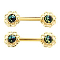 BodyJ4You Nipple Barbells Ring Shield Flower Black Green Opal Gold Steel 14G Body Piercing Set 2PCS