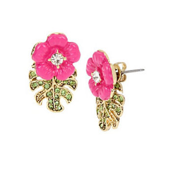 TROPICAL PUNCH HIBISCUS FRONT BACK EARRINGS: Betsey Johnson