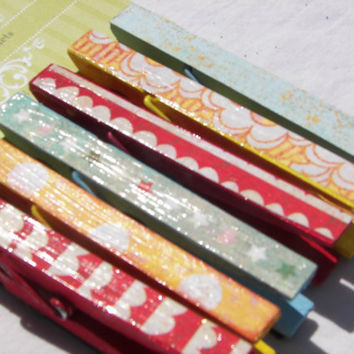 Primary Colors Clothespin Magnets with Fun Patterns (3.5 inch)