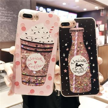Cartoon Flower Bottle Quicksand Dynamic Liquid Glitter Phone Case For iPhone 6 Cases For Iphone 7 Case 6S 7 8 Plus Cover Coque