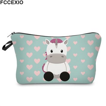 FCCEXIO New 3D Print Makeup Bags With Unicorn Pattern Cute Cosmetics Pouchs For Travel Ladies Pouch Women Cosmetic Bag 17