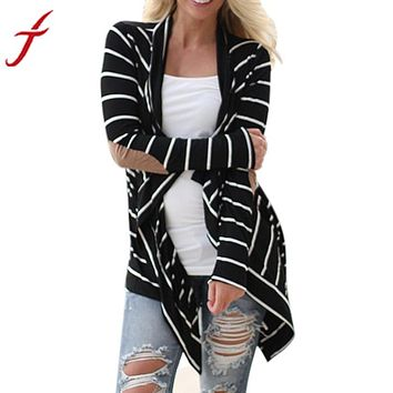 Striped Open front cardigan with elbow patches
