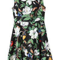 ROMWE Floral Print Doll Collar Sleeveless Pleated Dress