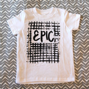 modern EPIC black and white kids tshirt