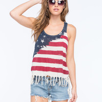Others Follow Allegiance Womens Fringe Tank Red/White/Blue  In Sizes