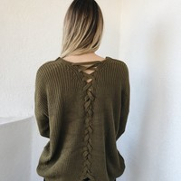 OZZIE TIE BACK SWEATER- OLIVE