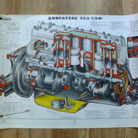 Vintage Soviet CCCP Engine Blueprint School Pull Down Drowing Cutaway Engine GAZ-53f