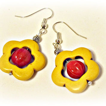 Yellow Howlite Flower with Red Center Earrings
