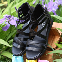Summer Black Leather Beach Slippers Sandals