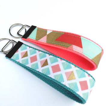 Key Fob Wristlet Coral Blue Gold Triangles/Keychain Wristlet/Keychain for Mom/Gift for Her