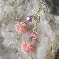 """My Secret Garden"" Artisan Lampwork Art Glass & Swarovski Crystal Sterling Silver Earrings, ""Golden Pink Carnations"" #115"