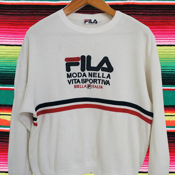Rare FILA ITALIA Moda Nella Sports White Thermal Sweatshirt Hip Hop Run Dmc Style Tennis Medium