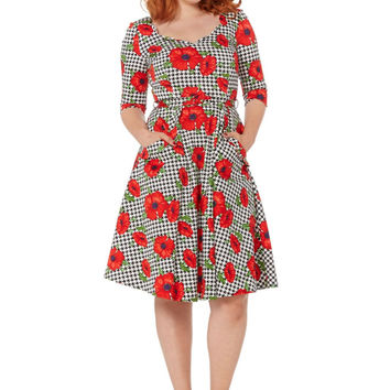 Eloise Houndstooth Poppy Flare Dress
