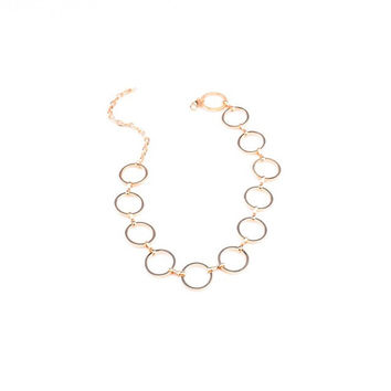 Fahsion Gold Silver Plated Circle Chain Link Chokers Bib Collar Women Necklace