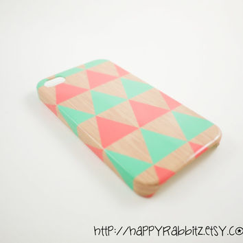 Geometric Triangle Peach Teal Wood iPhone 4 Case by happyrabbitz