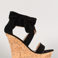 Bamboo Suede Bow Open Toe Platform Wedge
