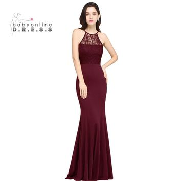Robe De Soiree Longue Mermaid Burgundy Lace Cheap Bridesmaid Dresses Long 2017 Halter Simple Prom Dresses Party Gown