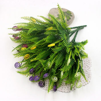1Pcs lot Plastic Greeen Ferns Weed Branches Artificial Flowers Bouquet Grass Fake Leaf Wedding Home Party Aquatic Decoration
