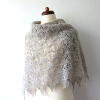 knit triangle lace shawl in silk alpaca - made to order