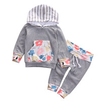 Newborn Baby Girls Floral Hooded Tops + Pants 2pcs set