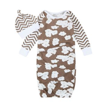 Newborn Infant Kids Baby Girls Boys Flower Pajamas Gown+Hat Outfits Clothes baby Long-sleeved robe Set ping