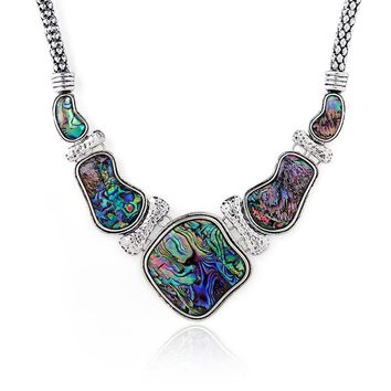 FLOLA Boho Jewelry Unique Abalone Shell Chokers Necklaces for Women Geometric Large Big Choker Necklace Jewelry for women nken46