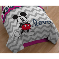 Mickey Mouse Twin - Full Comforter Set Gray Chevron Bedding