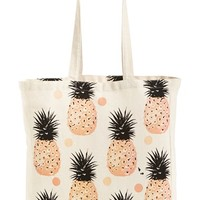 Junior Women's Tri-Coastal Design Pineapple Print Tote - Beige