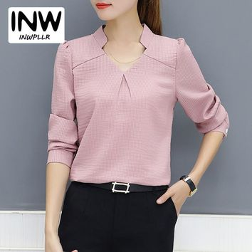 2018 New Arrival Women Blouse Autumn Work Wear Office Shirts Femme V-neck Long Sleeve Ladies Tops Striped Blusa For Mujer