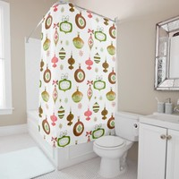 Red Watercolor Retro Ornaments Shower Curtain