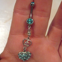 Belly Button Ring Crystal Barbell Silver Tone Hearts Aqua Blue and Aurora Borealis Crystals 2OAK