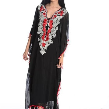 Black kaftan maxi dresses long kaftan maxi dress sheer caftan kaftan dress fringe details