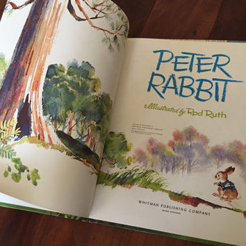 Peter Rabbit, 1963 Vintage Childrens Book, Giant Tell-A-Tale Whitman Classic Vintage Book, Hardcover Vintage Book, Rod Ruth 60s Illustration