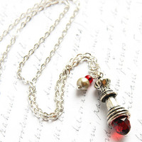Silver Chain Necklace, Chess Queen, Red Quartz Crystal, Wire Wrapped Pearl Charm Necklace, Antique Silver Chess Piece, twilight jewelry