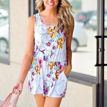 * Back To School Floral Romper : Baby Blue