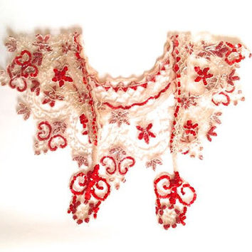 Stunning red sequin shawl, vintage shawl, mesh effect, hand stitched, bright red, blood red sequins, embroidered, flowers, hearts, beaded