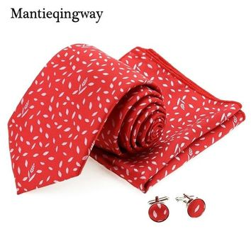 Mantieqingway Brand Men's Tie Handkerchief Cufflink Set for Wedding Paisley Neckties Hanky Pocket Square Cuff Link Set For Suit