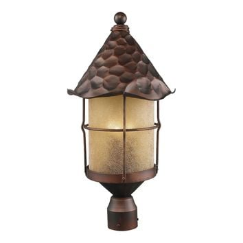 389-AC Rustica 3 Light Outdoor Post Lamp In Antique Copper And Amber Scavo Glass