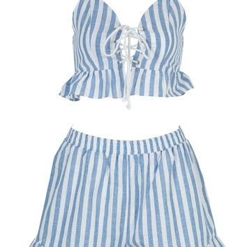 Blue Striped Ruffle Lace up Cropped Top And Shorts Set