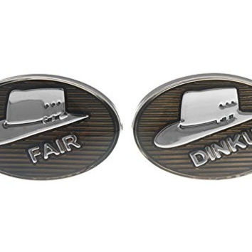 Mens Executive Cufflinks Enamel Australian Slang Fair Dinkum Hat Cuff Links